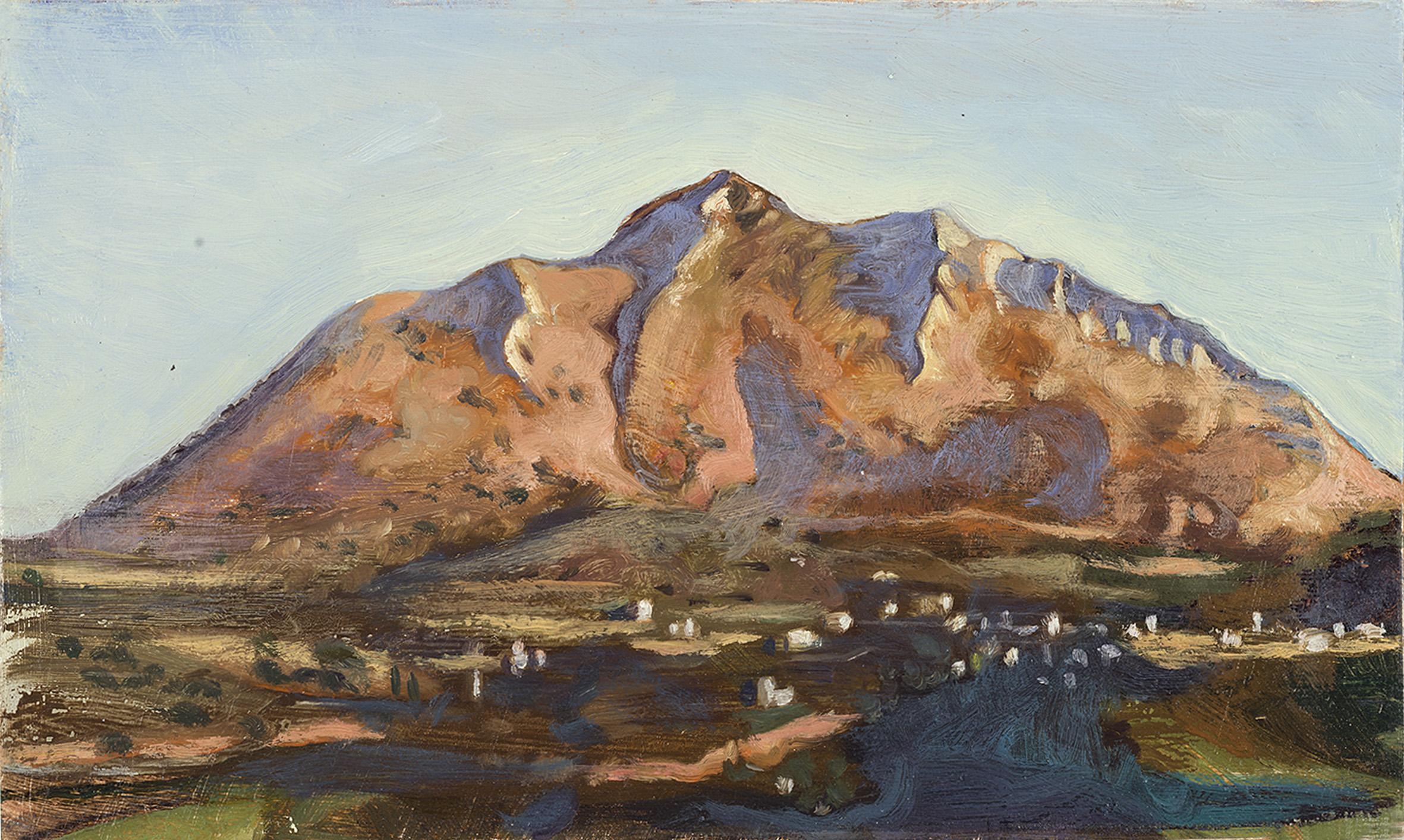 'Kapsaleas above Oitylo, early morning' oil on board 15.5 x 25.5cm