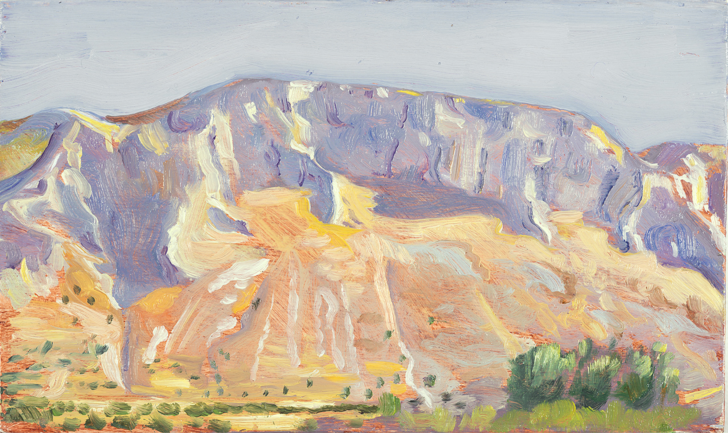 'Study for Mt. Elijah above Ano Boularii, noon' oil on board 15.5 x 25.5cm
