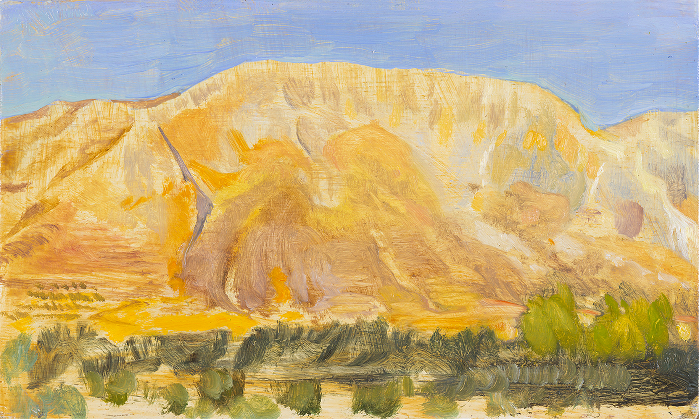 'Study for Mt. Elijah above Ano Boularii, mid afternoon' oil on board 15.5 x 25.5cm