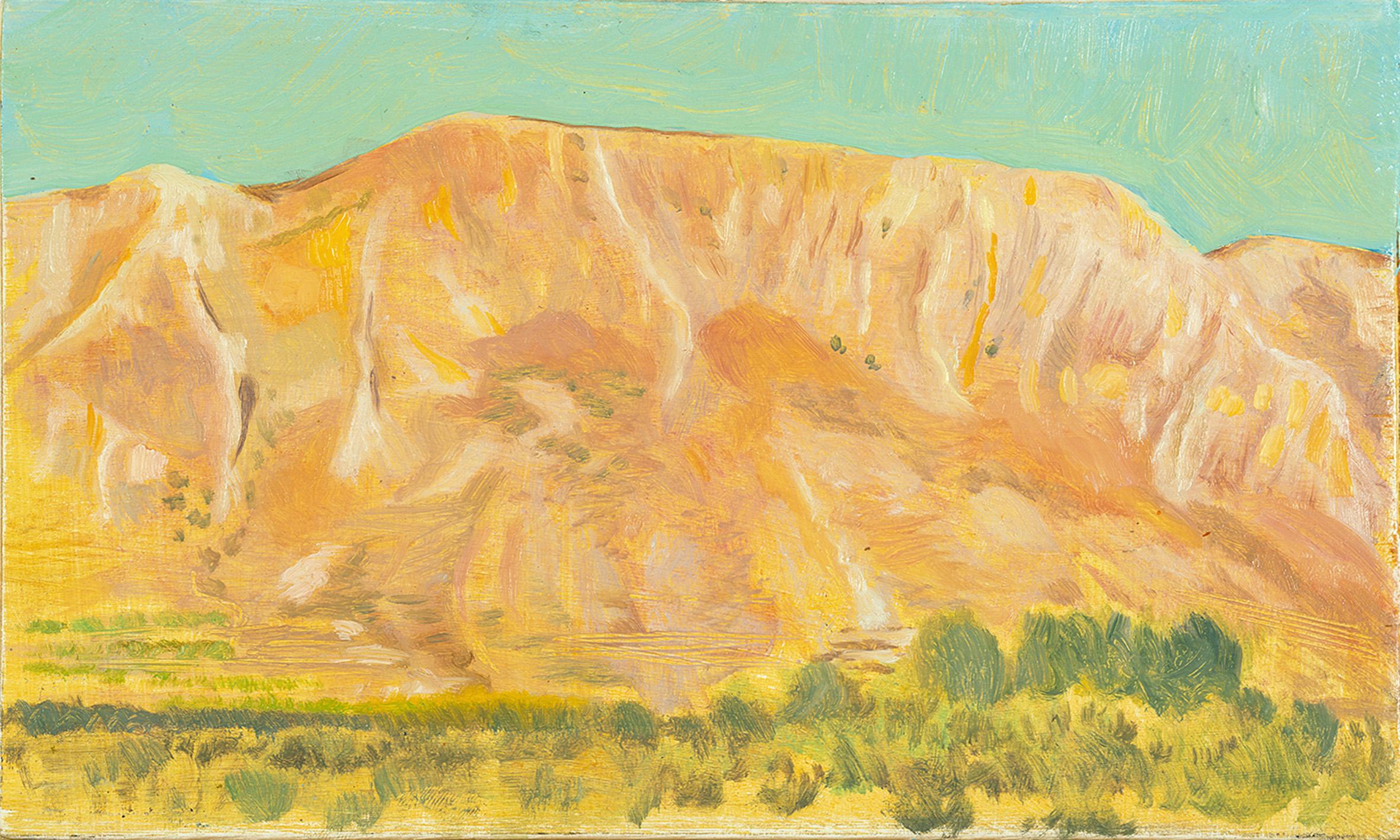 'Study for Mt. Elijah above Ano Boularii, sundown' oil on board 15.5 x 25.5cm
