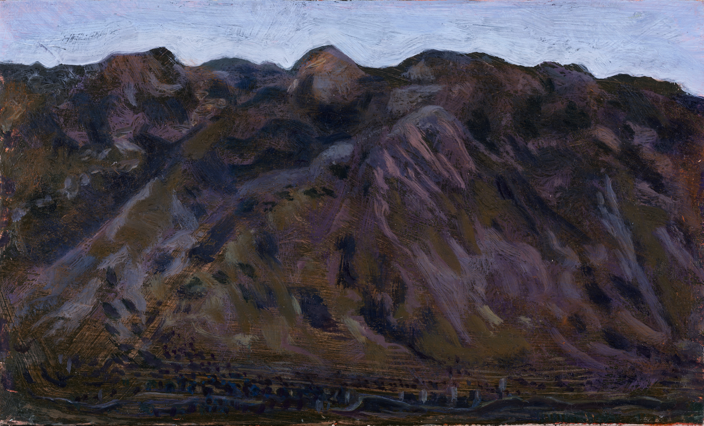 'The land of evil council: above Flomohoria' oil on board 15.5 x 25.5cm
