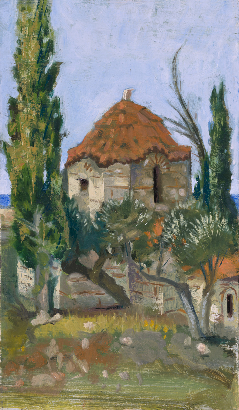 'Aghios Petros (St. Peters) on the pass to Mt. Sagias' oil on board 15.5 x 25.5cm
