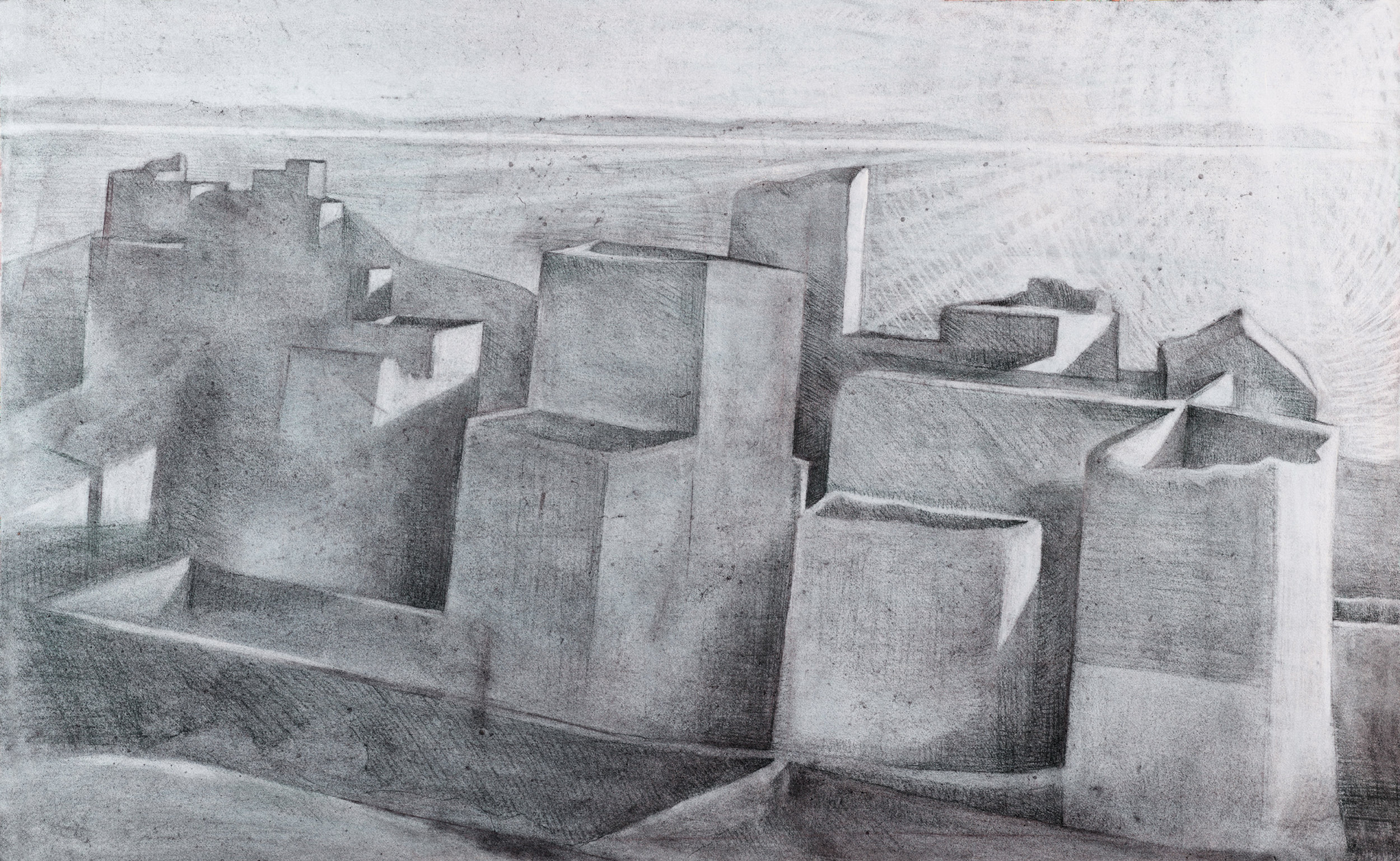 'Sunrise on the sunward side: Layia and the Gulf of Laconia' charcoal on paper 55 x 85 cm