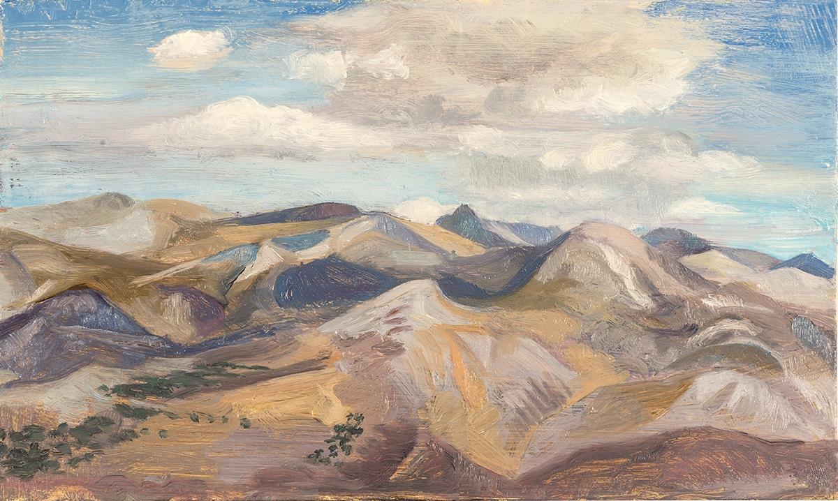 'The Kakovoulia mountains from Kerourgia Chora' oil on board 15.5 x 25.5cm