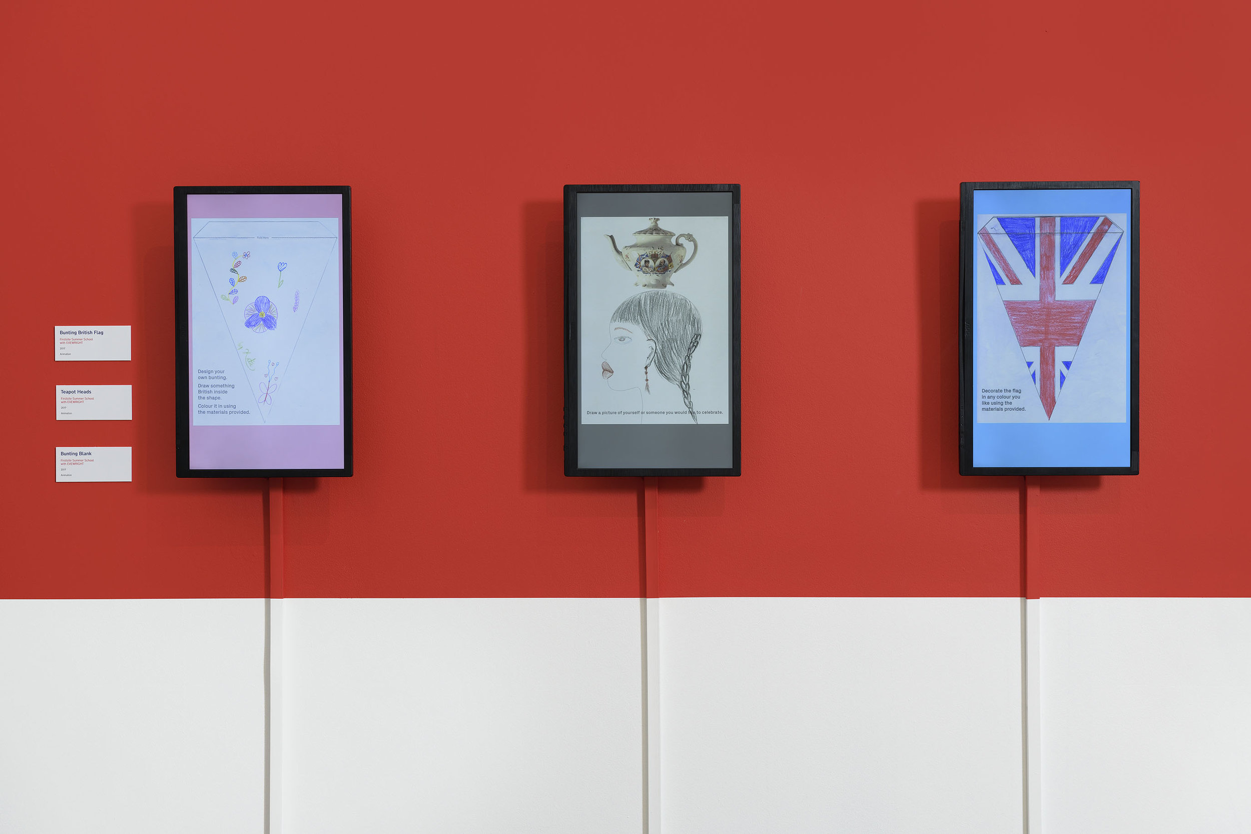 Firstsite Gallery installation Stop Motion Animation:Title: ' Bunting'  - Draw something British inside 37.45min , Title: ' Teapot' 25.25min, Title: ' Bunting Flag'  - In Any Colour You Like 17.33min © EVEWRIGHT All Rights Reserved 2018. The Britishness Project, Firstsite, 2018. Image courtesy of Firstsite. Photo: Douglas Atfield