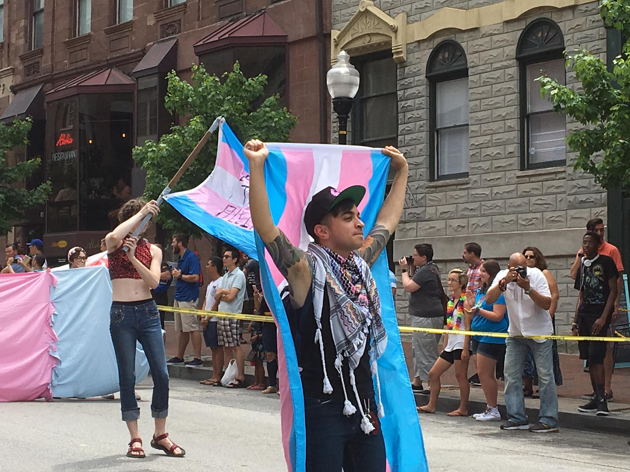 samy nour marching with the baltimore transgender alliance in the 2017 baltimore pride parade. photo by wilson freeman.