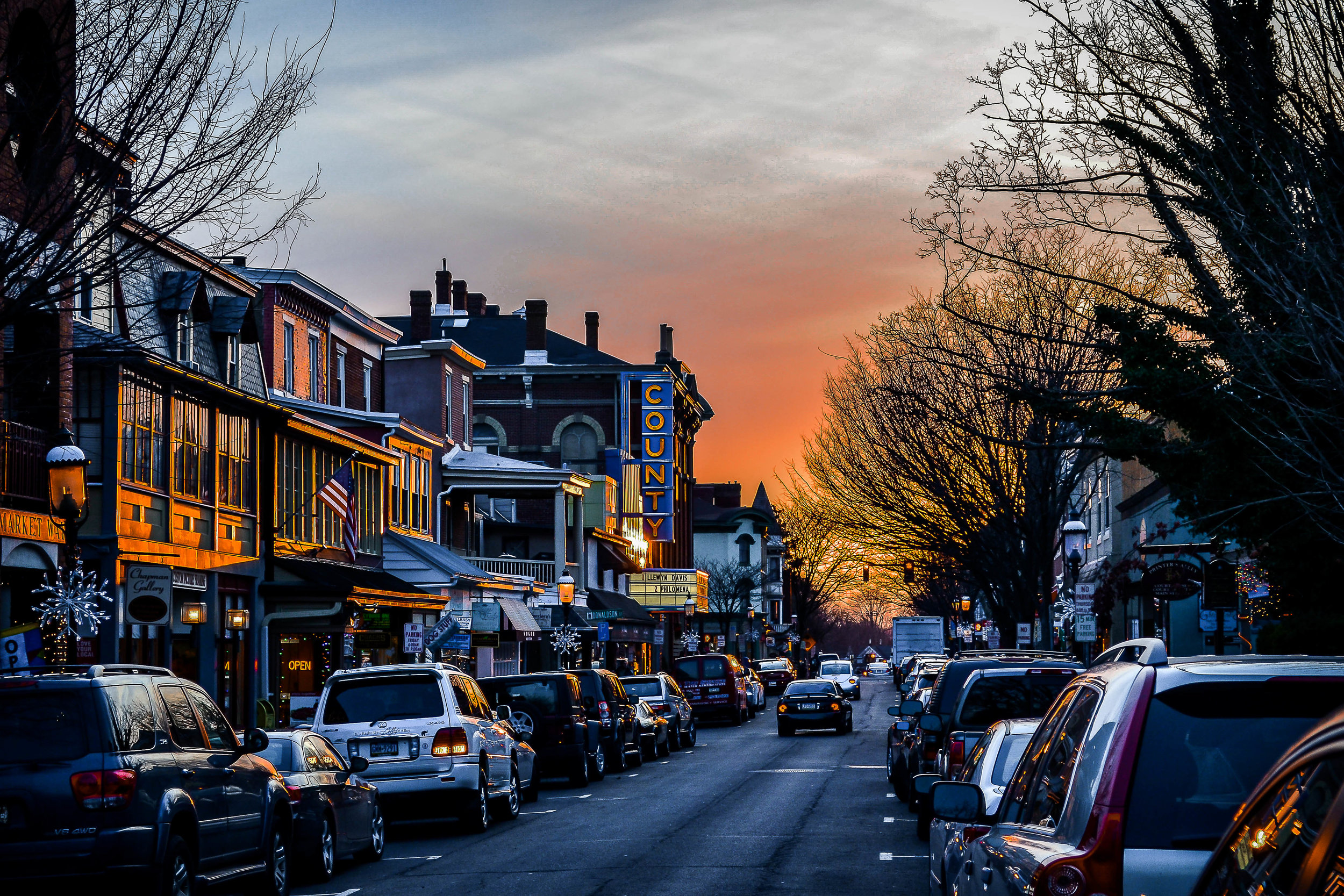 Downtown Doylestown at sunset looking down East State Street, captured by Michael Brooks