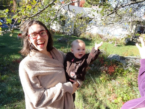 Oct 2016 - Cyrus was 11 months - Visiting my Vermont Cousins apple picking & hand making apple cider!