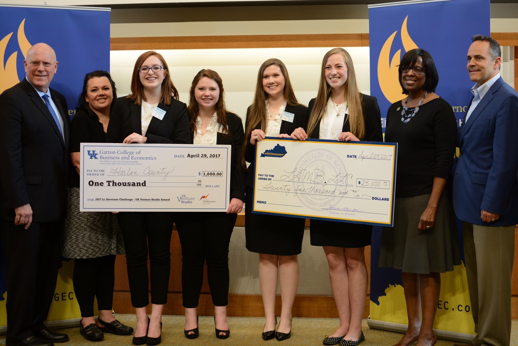 The second-place team, Lamb LLC, was from Harlan County and won $25,000 in scholarships. Their company proposed a business idea involving the hotel industry and security monitoring.