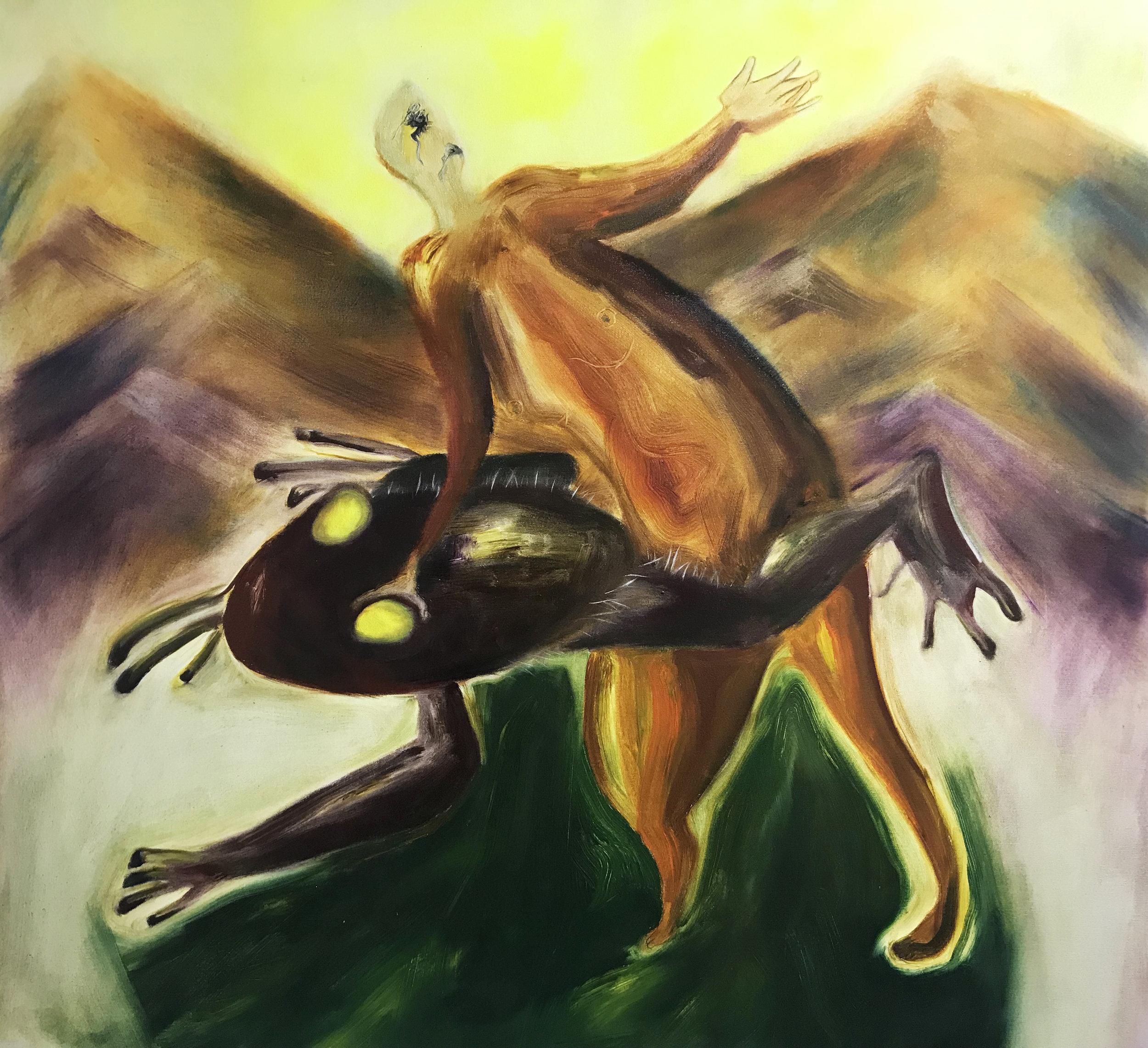 Trichobatrachus robustus, 110 x 120 cm, oil on canvas, 2019.jpg