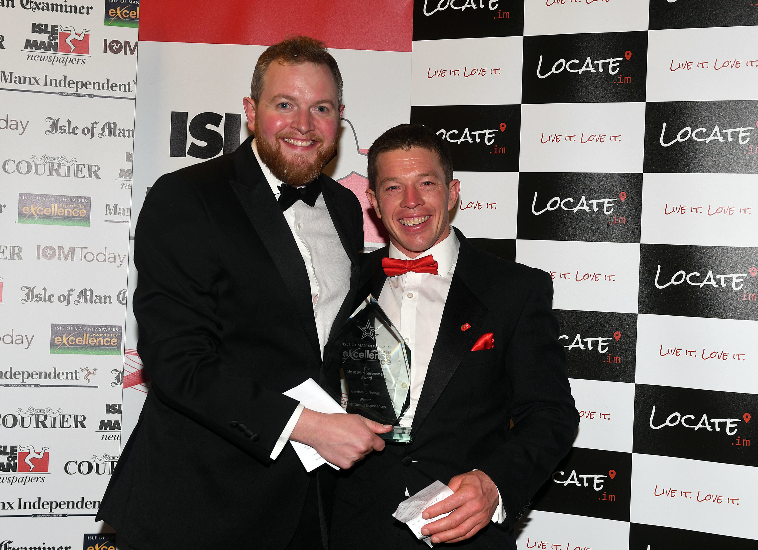 Compere Miles Jupp congratulates Keirron Tastagh at last year's Awards for Excellence