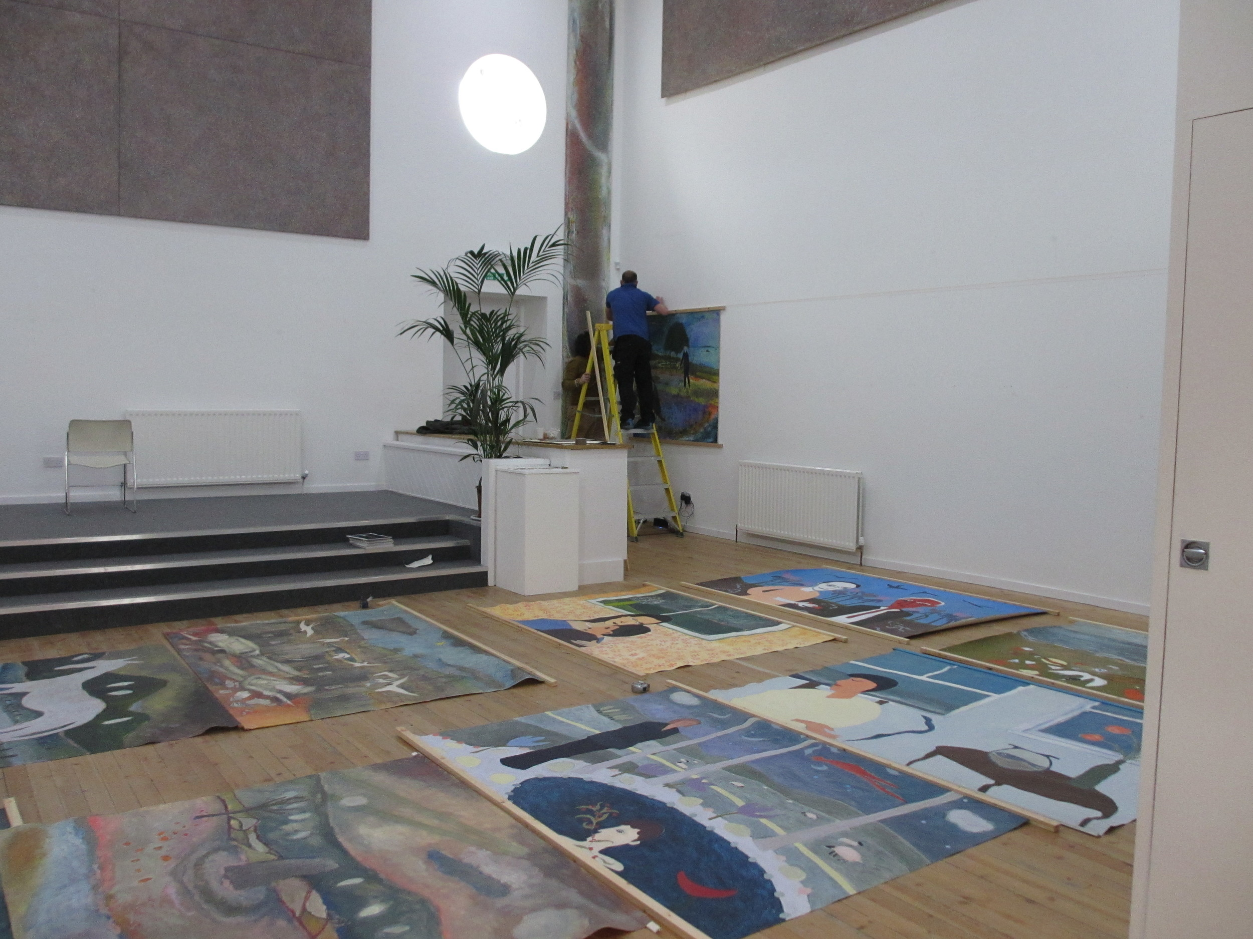 Preparing to hang Michael Thorp's distinguished exhibition