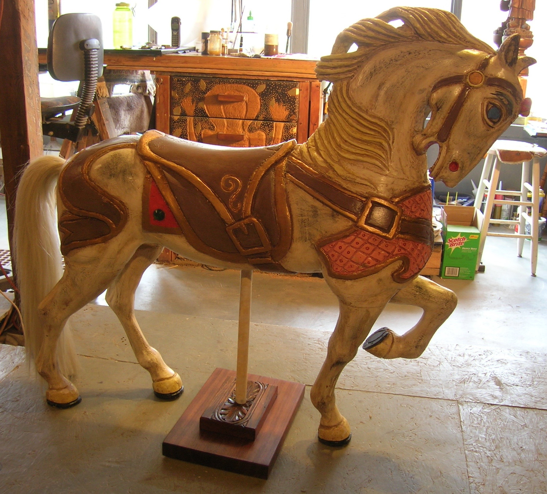 Carved carousel horse made into sculpture.