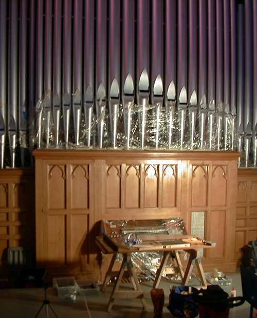 1880's Roosevelt organ. One of largest restoration projects completed by Cree Studios. This is one of the few mechanical organs still in use, and has over 2,000 connectors and pipes.
