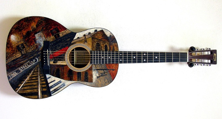 Bethlehem Steel  motif. Artist pigment in shellac. Martin 000-16SGT. Mahogany back and sides, sitka top. $1850.00