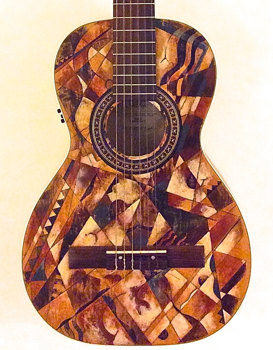 La Patrie Cubist  motif Artist's pigment in shellac. Parlor-sized classical guitar with electronics by La Patrie of Canada. $900.00