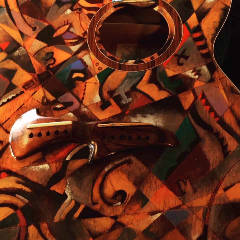 Detail of new Harp guitar