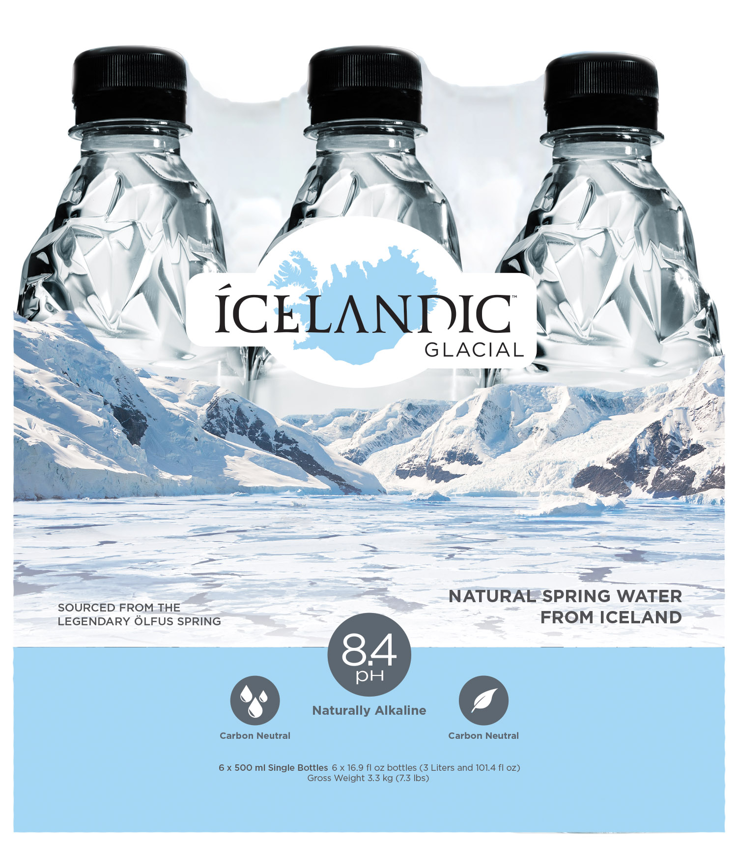 Designed eye-catching new shrink wrap packaging for Icelandic Glacial 330ml, 500ml and 1 Liter six packs