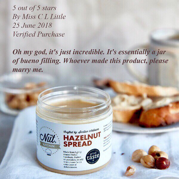 We always get lovely feedback from our customers but this one from our AMAZON listing is a real cracker.🤣 Thank you Miss C L LIttle but both our founders are, unfortunately, taken. 🤵 👰 ⠀⠀⠀⠀⠀⠀⠀⠀⠀ BTW our Hazelnut Spread is on offer at Amazon, also available on Prime. Grab a jar before stock runs out. Next shipment not due til end of September.  Link on our profile.     #food #foodblog #foodie #hazelnutspread  #hazelnutcream  #instagood #nut #hazelnut #yum #foodstagram #instafood #sicilian #sicilian #baking #eating #foodpics #londonfood #londonfoodie #vegetarian  #nutbutter  #nuts  #yummy  #delicioso  #delicious #heaveninajar #amazon #amazonprime #breakfast #kinderbueno #kinderbuenowhite
