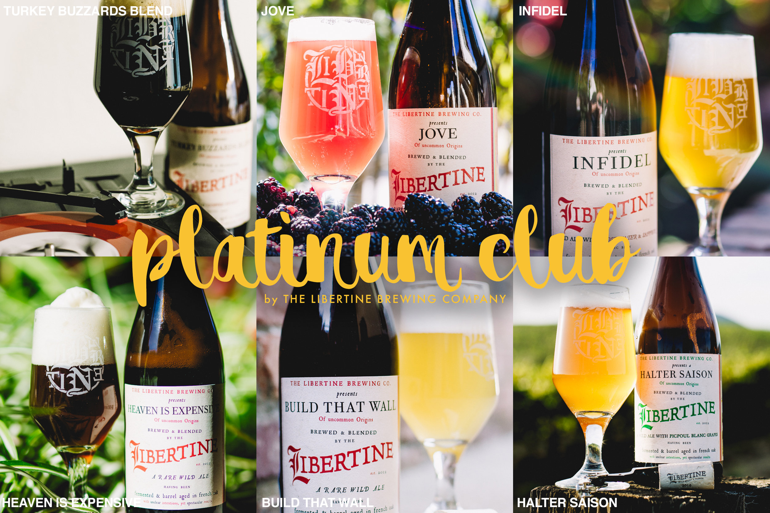 The Platinum Club will feature Turkey Buzzards Blend, Jove, Infidel, Halter Saison, Build That Wall & Heaven Is Expensive in the first shipment on December 1. The Libertine Bottle Club will focus on sending you unique beers every quarter.