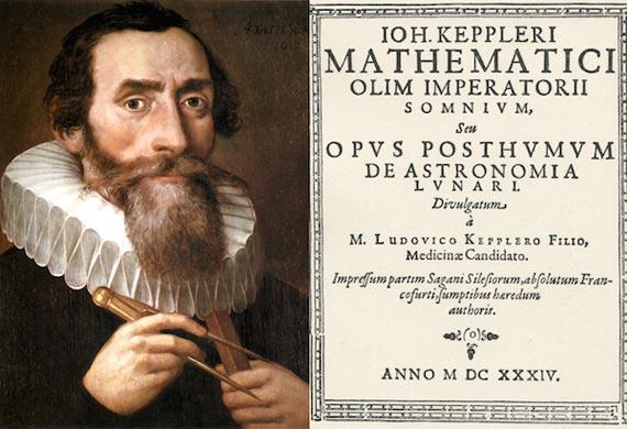"""Retrato de Johannes Kepler (1610) y portada de la primera edición de """"Somnium"""" (1934)"""