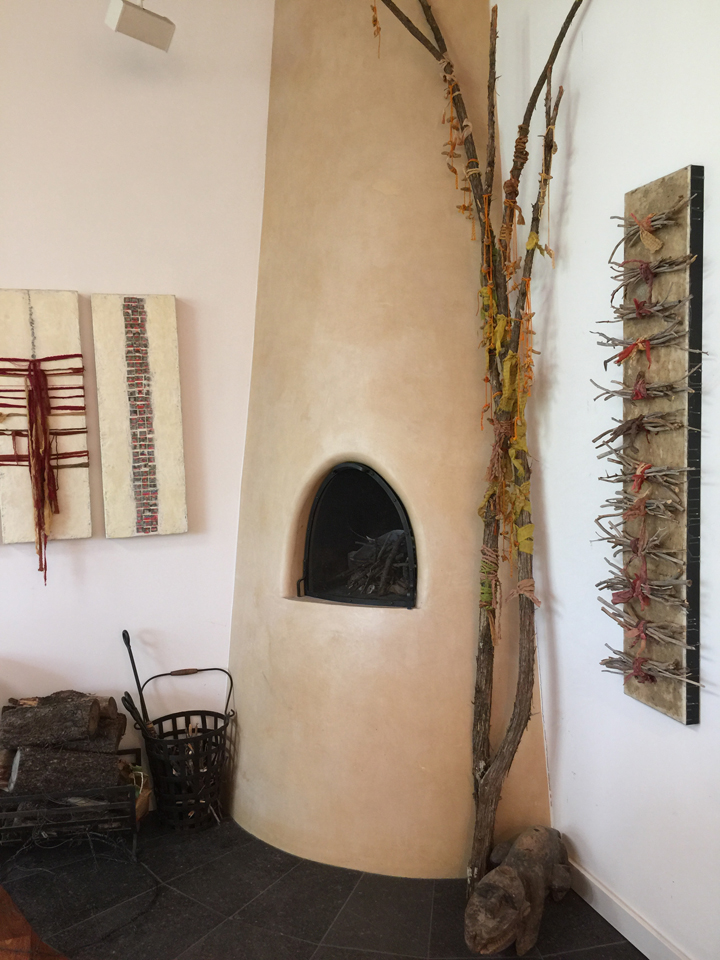 Tesuque Studio adobe fireplace