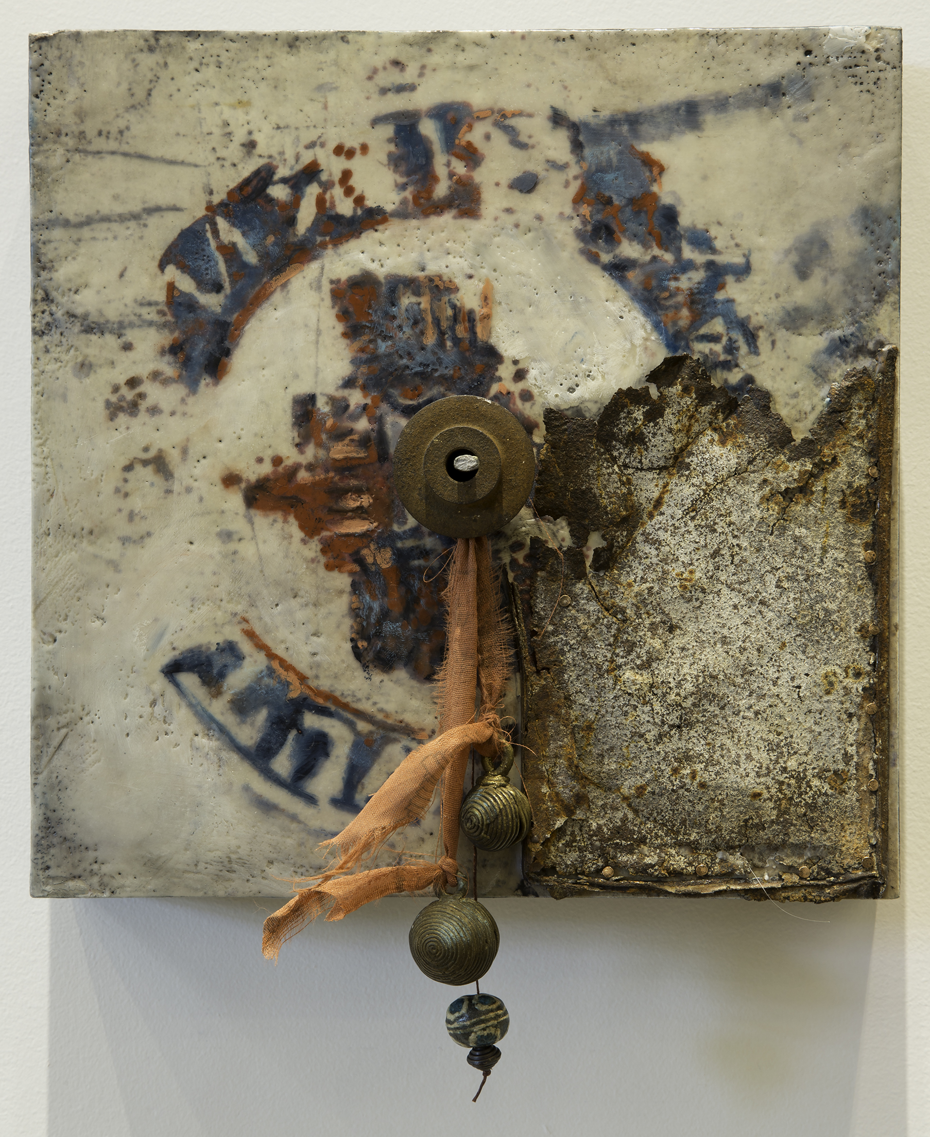 Dimensions:  10 x 12 x 3 in.  Media:  Encaustic, mixed media on panel  Year:  2011  Location:  CES Studio