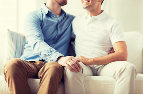 joyous gay couple smile and embrase on couch
