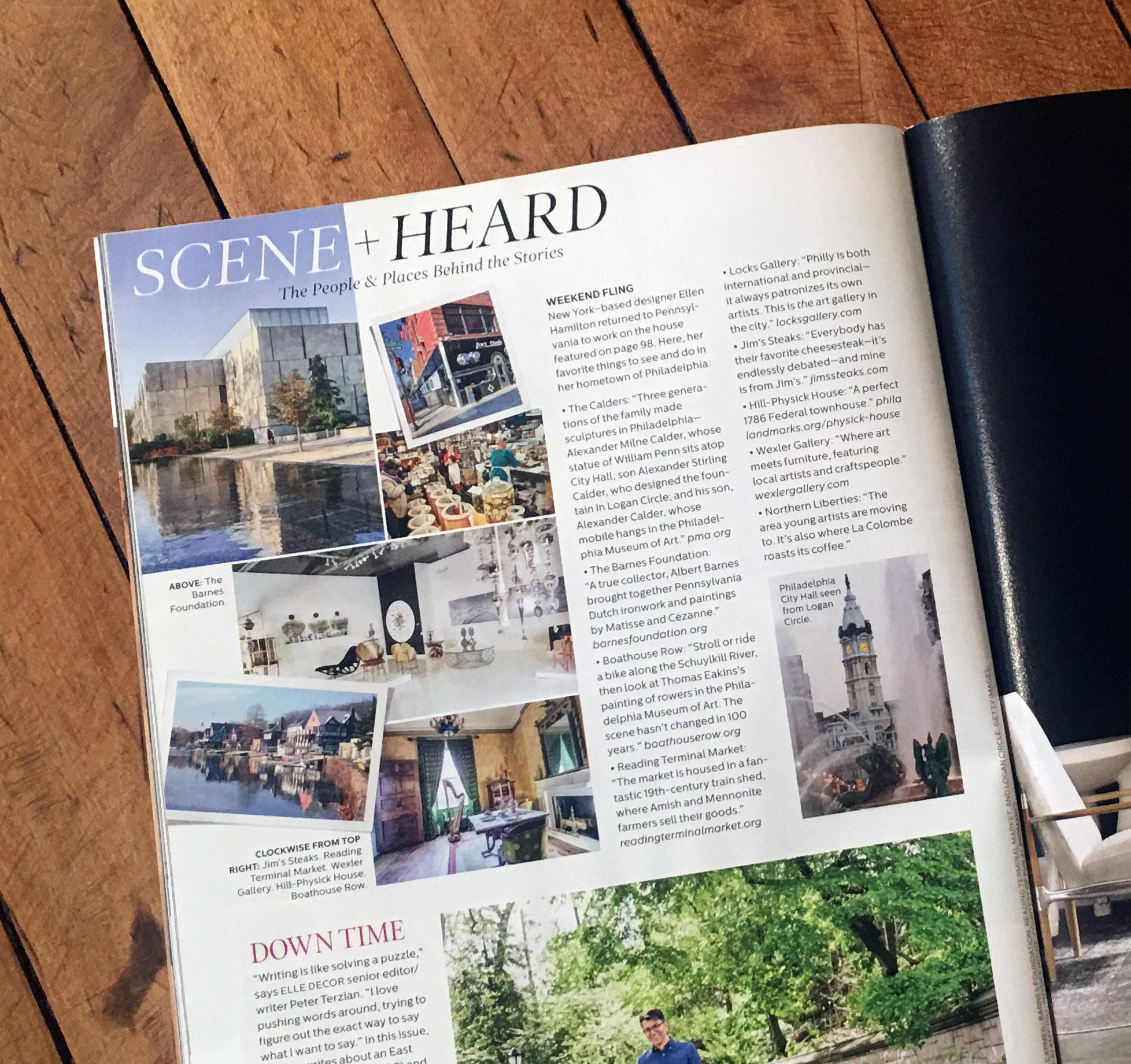 Scene + Heard Page from July Elle Decor.