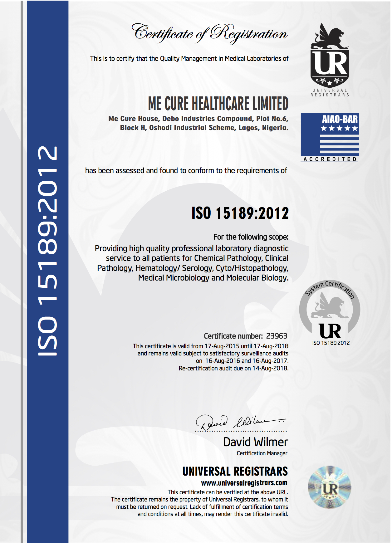 ISO 15189 : 2012 Accredited