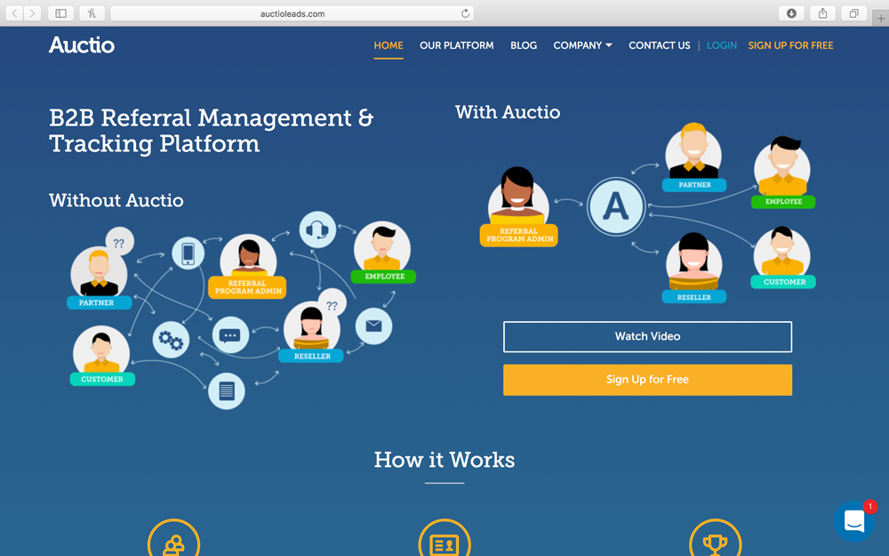 Auctio - Referrals are a company's best leads. Auctio is used to recruit, build clientele, drive renewals, referrals and any action at all.  Auctio has an easy to use loyalty and reward program and dashboard that integrates with existing CRM's to manage referral marketing initiatives.