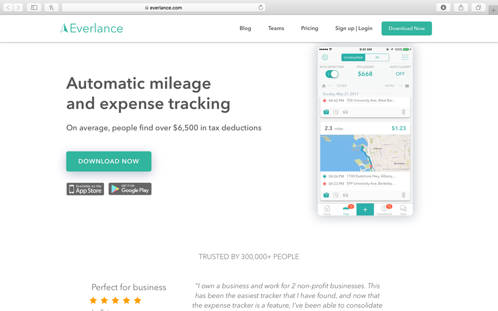 everlance - Everlance makes tracking business expenses effortless. Every 10,000 miles driven is worth up to $5,400 as a business write off and the Everlance app makes claiming these miles as simple as a swipe. Everlance primary customers include rideshare drivers, real estate agents and other service professionals that are independent contractors. Everlance was featured by Apple as one of their