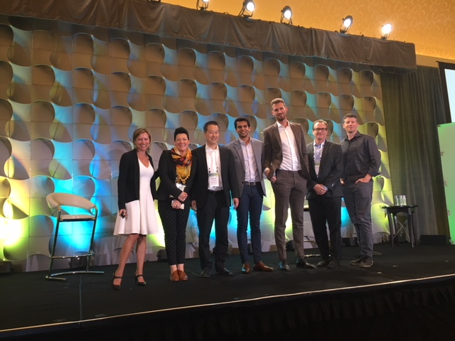 Half of the 2019 Passport Class class takes the stage at CBRE's annual Multifamily Summit in Chicago, speaking on AI, sustainability, tech-enabled services and more.    (from L) Constance Freedman, founder, Moderne Ventures; Karly Doble, chief risk officer, Eusoh; Michael Chang, co-founder and head of business development, ByteGain; Naman Trivedi, co-founder and CEO, WattBuy; Daniel Berlind, co-founder and CEO, Snappt; Richard Kincaid, founder and CEO, SageGreenlife, Matt Ehrlichman, founder, Porch.