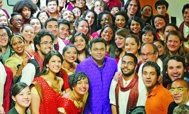 A.R. Rahman with the Berklee Indian Ensemble