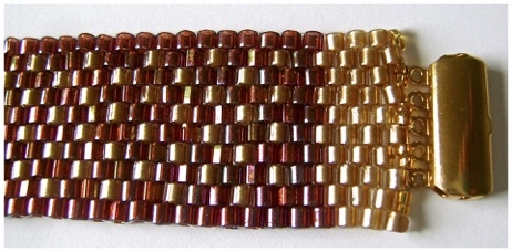 Flecked Raspberry:Gold  Peyote Stitch Bracelet.jpg