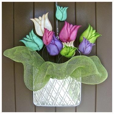 Metal And Fabric Flower Door Hanger.jpg