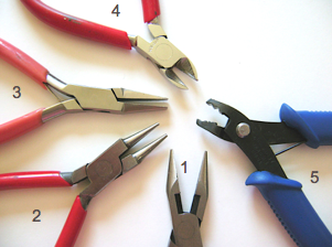 1 - Needle Nose Pliers 2 - Round Nose Pliers 3 - Flat Nose Pliers 4 - Wire Cutters 5 - Double Crimp Tool