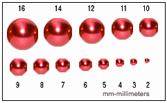 Use the red beads on the card to determine the size of nearly any shaped bead. Just keep in mind, the size of an irregular shaped bead can be determined by measuring it at its widest point.