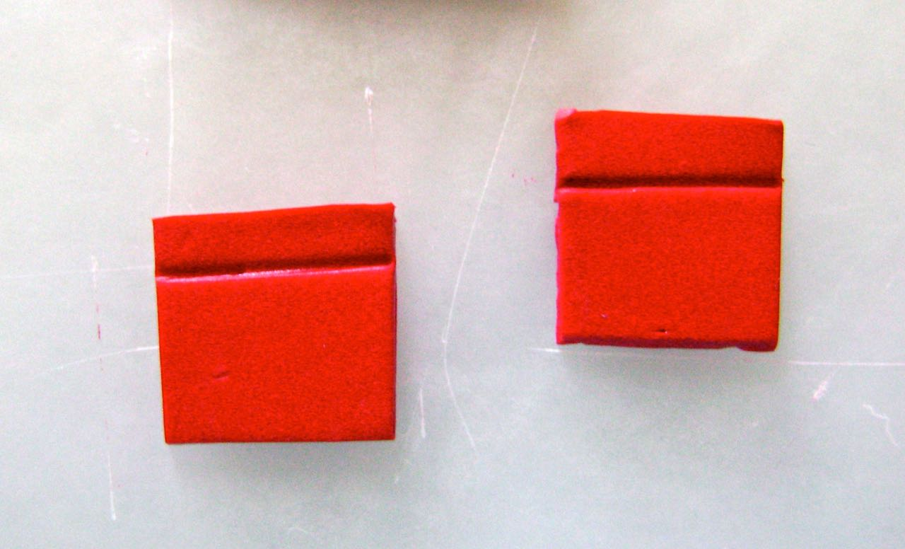"""step 4 - Cut two squares .75"""" in size. Use an Etch 'n Pearl tool to create a hem detail onthe edges."""