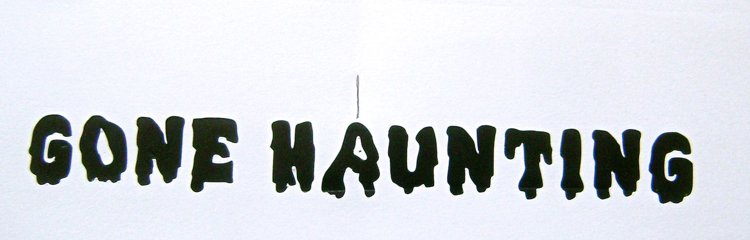 "step 4 - Print and cut out the ""Gone Haunting"" message on card stock.   Mark the center of the message."