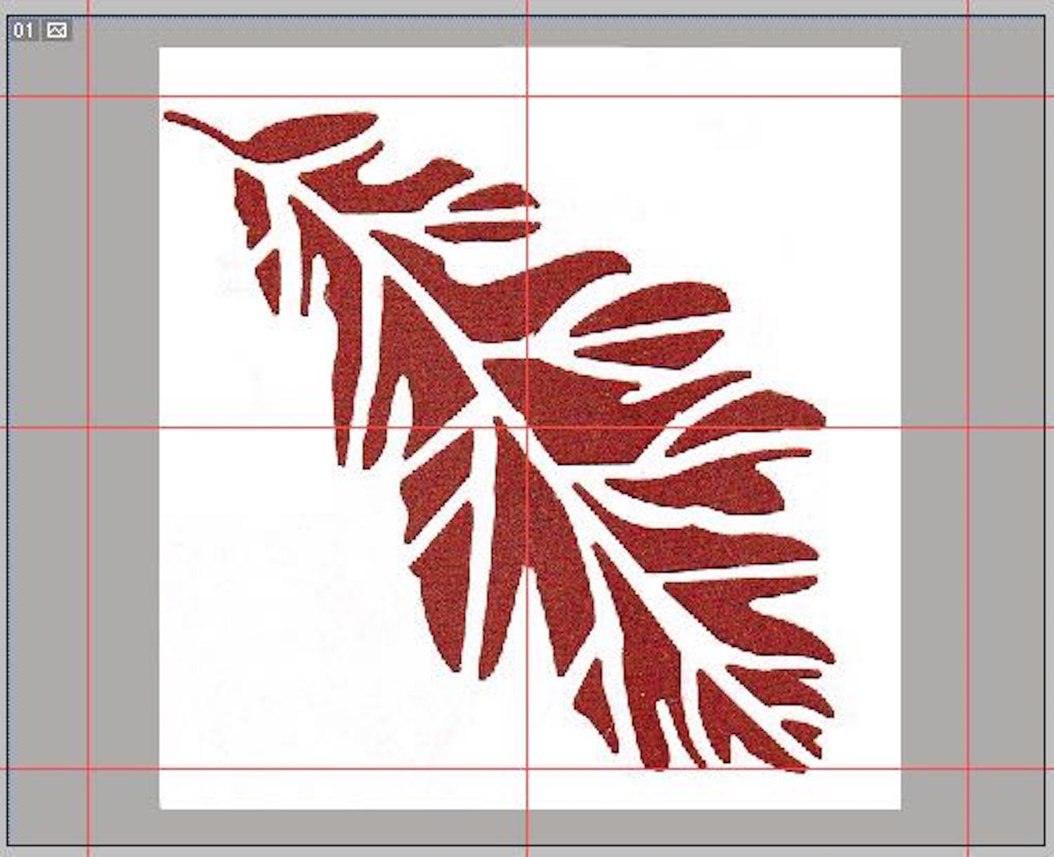 "step 3 - With the leaf layer selected, go to ""transform"" from the ""edit"" menu and click on ""scale"".  Hold down the shift key (which constrains the image proportions) and drag a corner of the leaf until the image fills the space inside the 1.5"" guides."