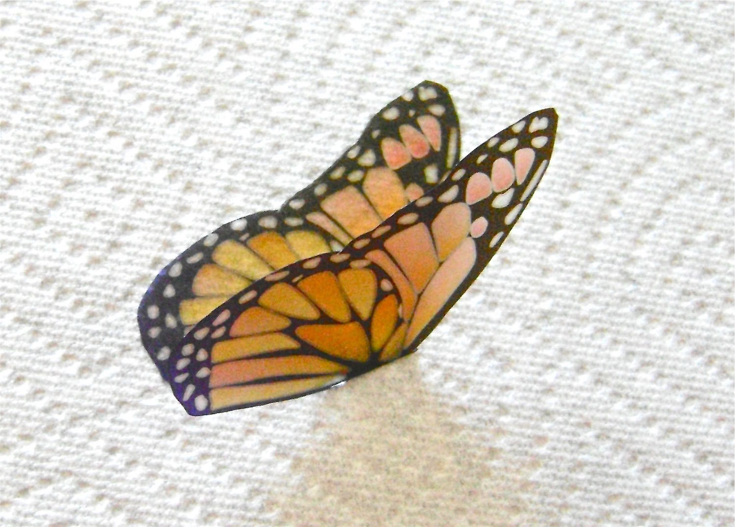 step 5 - Use small scissors to cut out the shape. Match up the cut wings and form a crease in the center of the butterfly.