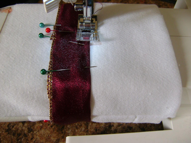 step 10 - Machine stitch around the top and bottom of the ribbon.