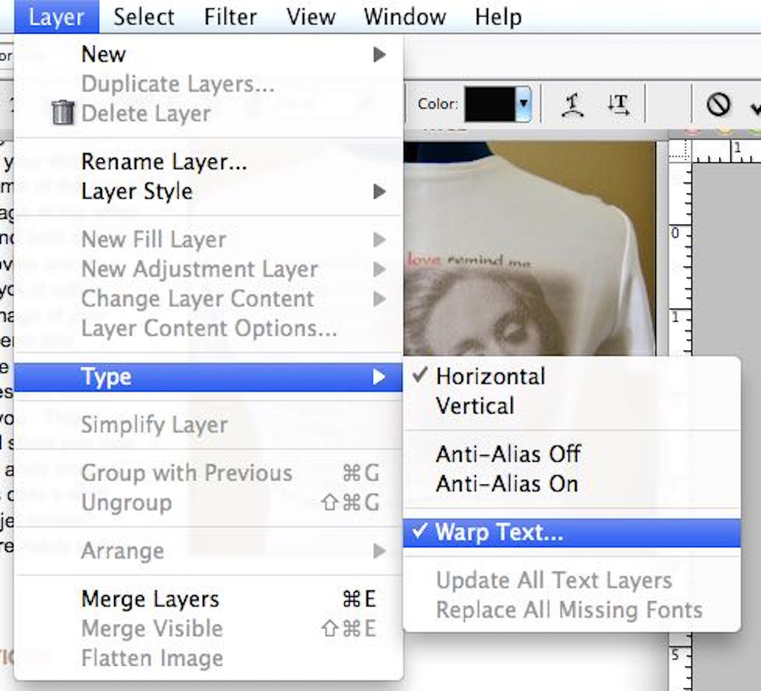 step 2 - To wave the text, select it with the text tool.  Go to the Layer menu and select Type then Warp Text.