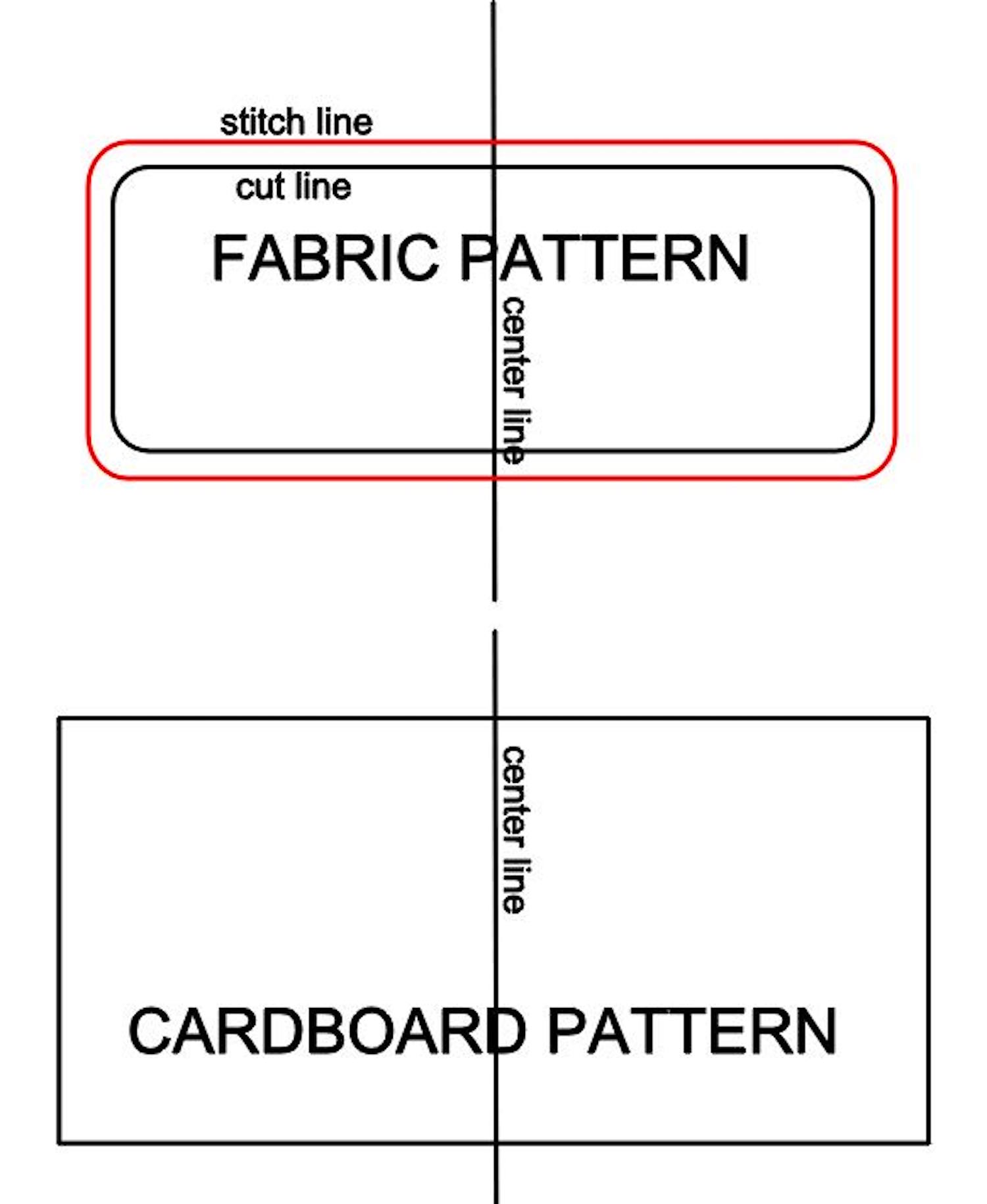 step 1 - Download the pdf instructions. Print one of the fabric pattern and two of the cardboard pattern.