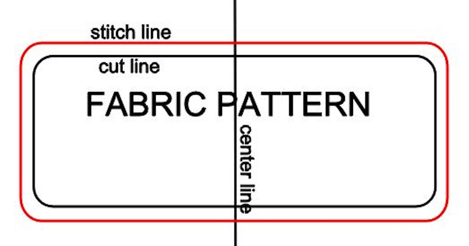 """step 5 - Trace the fabric pattern twice onto white transparent gift wrap tissue paper. Include both the stitch line and the cut line and be sure to mark the centerline. The pattern pieces should have a generous border, at least 2"""" or more."""