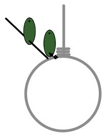 step 6 - Add another bead to the wire, twist and wrap the wire around the circle.