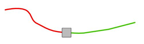 """step 2 - Cut beading thread to measure 36"""" for each strand. Thread the beading needle and slip on a silver bead leaving a 12"""" tail. Red represents working thread. Green represents the tail."""