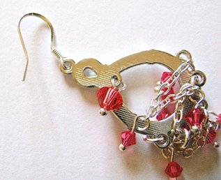 step 7 - Finish the earrings by attaching earring wires to the loop in the top of the teardrop.