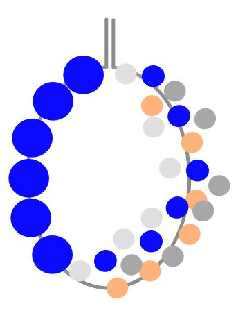step 9 - Slide the beads to the right side of the #26 wire.  Wrap the #18 wire around a circular object to shape it. Slide five 6mm blue beads onto the left side of the wire.  Create a 90 degree angle in the wire then cut off excess leaving a three-quarter-inch tail.